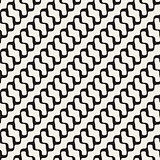 Vector Seamless Black and White Diagonal Rounded Wavy Lines Pattern