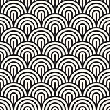 Vector Seamless Black and White Rounded Arc Concentric Circles Pattern