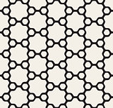 Vector Seamless Black and White Rounded Floral Hexagonal Star and Outlined Circles Pattern
