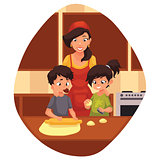 Mother and children preparing cookies in kitchen
