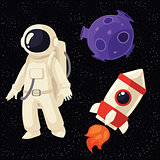 Set of cartoon astronaut, rocket and planet in cosmos