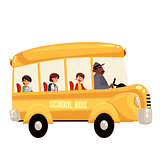 Happy primary students riding school bus