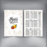 Kitchenware, vegetables and cutlery menu design
