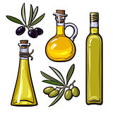 Set of olive oil bottles with black and green olives