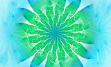 Bright green fractal flower, digital artwork for creative graphic design