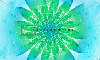 Bright green fractal flower, digital artwork for creative graphic design