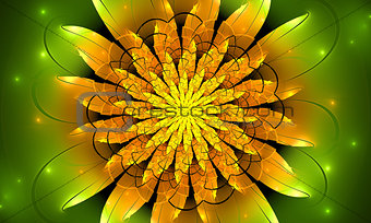 Bright yellow fractal flower, digital artwork for creative graphic design