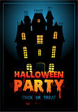 Happy Halloween Poster. Vector illustration with haunted house