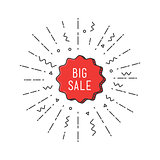 Big sale shining banner, colorful background in flat style
