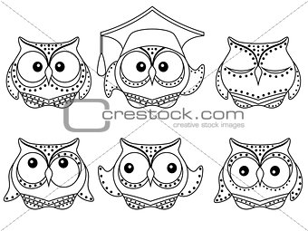 Six amusing owl outlines
