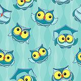 Amusing blue owls seamless pattern