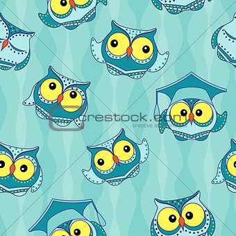 Amusing blue owls seamless pattern
