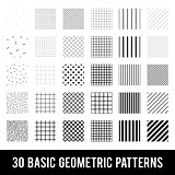 Set of basic geometric patterns. Memphis style. Black and White.