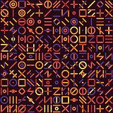 Vector Seamless Multicolor Geometric Line Random Shapes Grid Pattern