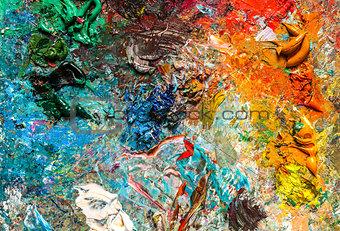 artist's palette with oil paints
