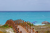 Wooded bridge and turquoise sea