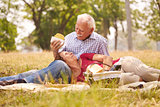 Old Couple Senior Man And Woman Doing Picnic