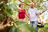Old Man Woman Senior Couple Walking With Picnic Basket