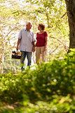 Senior Man Woman Old Couple Walking With Picnic Basket