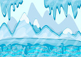 Cartoon winter landscape with iceberg and ice