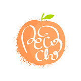 Peach Name Of Fruit Written In Its Silhouette