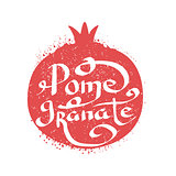 Pomegranate Name Of Fruit Written In Its Silhouette