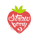 Strawberry Name Of Fruit Written In Its Silhouette