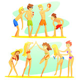 Friends On Beach Holiday Colorful Illustration