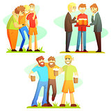 Man Friendship Three Colorful Illustrations