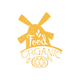 Organic Food Yellow Vintage Emblem