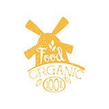 Organic Food Yellow Vintage Emblem