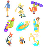 Extreme Sports Illustration Set