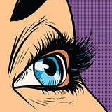 Close-up blue woman eye looks to right