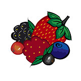Ripe berries strawberries raspberries blueberries blackberries a