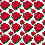 Seamless background with berries raspberry.