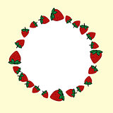 Vector hand drawn strawberries label.