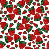 Seamless pattern strawberries berries.