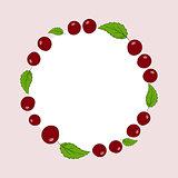 Vector hand drawn cherries label.