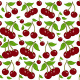 Seamless background with cherry berries.