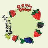 Vector set hand drawn berries label.