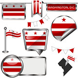 Glossy icons with flag of Washington DC