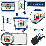 Glossy icons with flag of state West Virginia