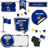 Glossy icons with flag of state Wisconsin