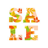 Sale word from colorful leaves.