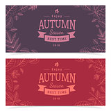 Autumn leaves and sale text.