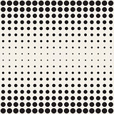 Vector Seamless Black and White Circles Horizontal Gradient Halftone Pattern