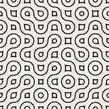 Vector Seamless Wavy Round Lines Irregular Geometric Pattern