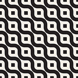 Vector Seamless Black And White Diagonal Wavy Lines Geometric Pattern