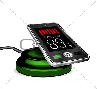 Smartphone on a wireless charge