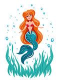 Mermaid.  Fairy tale marine character.